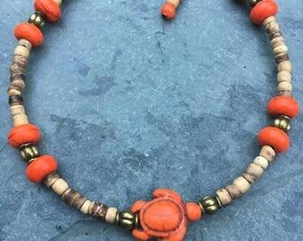Beach Anklet, Turtle Anklet, Ankle Bracelet, Orange Anklet, Ankle Jewelry, Anklet