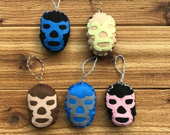 Set of 5 Luchador fighter Lucha Libre Mexican wrestler felt christmas tree ornament handmade