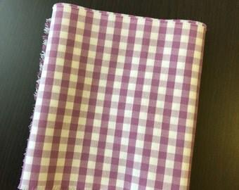 Purple Gingham Fabric. FQ. Gingham Fabric Purple Squares. Gingham Fabric Quilting Fabric Squares.