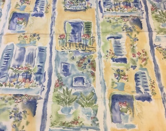 Vintage Yellow Upholstery Fabric. 1/2 yd. Terrace Fabric. Patio Fabric. Garden Upholstery Fabric. Springtime in Paris Fabric