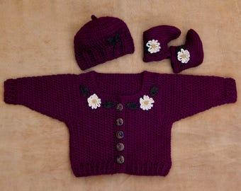 Crocheted Flower Baby Sweater Set // Booties \\ Beanie // Cardigan \\