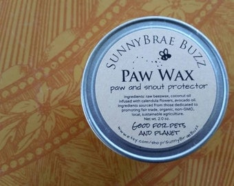 Organic Paw Wax, Paw Protection Wax for Dogs and Cats, Moisturizing Solid Lotion, Reusable Glass Jar and Paperboard Push Up Tube