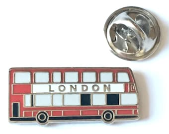 London Double Decker Bus Enamel Lapel Pin Badge (T1245)