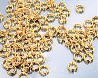 50 pcs 4mm  Gold Plated Split Rings Connectors ,dubbele ringetjes