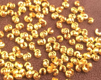 Gold Plated Crimp Beads Covers 4mm