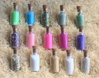 cute mini glass bottles with micro  beads, caviar beads, crystal glitters, german glitters, miniature bottles, micro beads