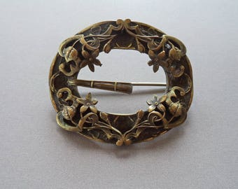 Antique Ornate Victorian Sash Pin Brass Bronze Large Brooch