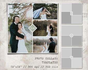 Storyboard Templates, 12x12, Photo Book, Photo Collage Templates, Layered Digital Collage, PSD Photographer Template, Digital Scrapbooking