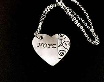 HOPE Heart Necklace, Encouraging Words From Cancer Patients, HOPE Silver Necklace, Encouraging HOPE Pendant