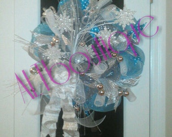 CLEARANCE WAS 49!! Winter Themed Wreath, Blue, Silver, White Wreath