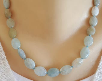 Gemstone aquamarine and silver necklace