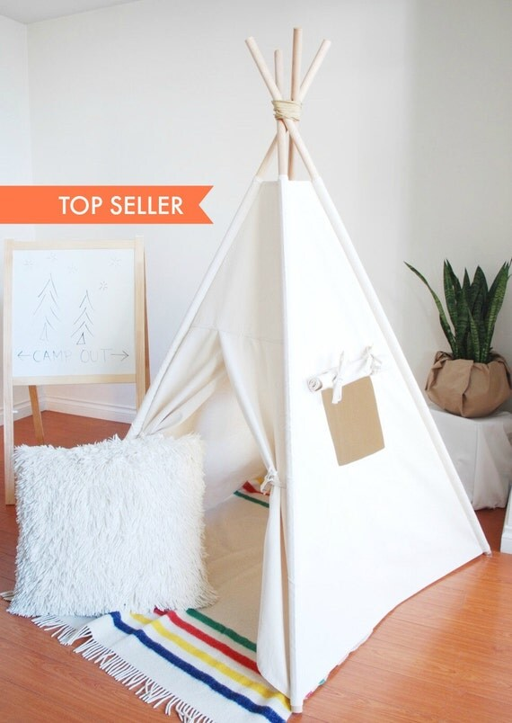 Ready To Ship, Small Natural Canvas Teepee, Play Tent, Kids Teepee, Childrens Teepee, Teepee Tent, Tipi, Playhouse, Canvas, Canvas Teepee