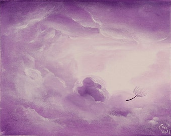 Small Purple Oil Painting, Inspirational Art, Clouds Painting, Romantic Gift, Inspiring Art, Meaningful Original Oil on Canvas