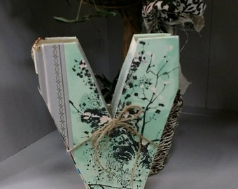 Book Letter V - Custom UpCycled Vintage Readers Digest
