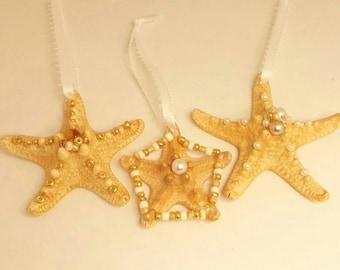 3 PC - Ornament Sea Star, Sea Star Ornaments ,Christmas ornaments, Christmas sea stars, Beaddazzled Sea Star, Sea stars