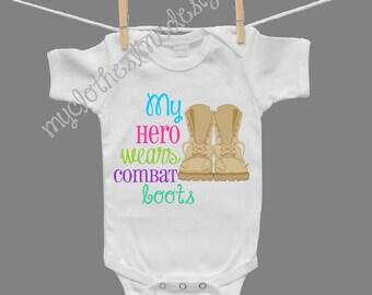 My Hero Wears Combat Boots Baby Girl Infant Girl Bodysuit