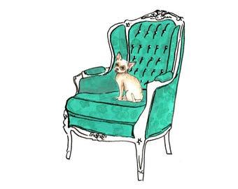 Chihuahua on Luxury Chair: Original A4