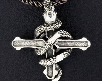 King Cobra Snake Iron Cross 925 Sterling Silver Pendant Gothic Jewelry