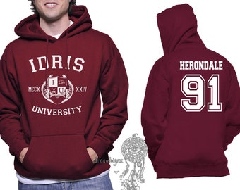 Herondale 91 Idris University print on Unisex pullover Hoodie Maroon