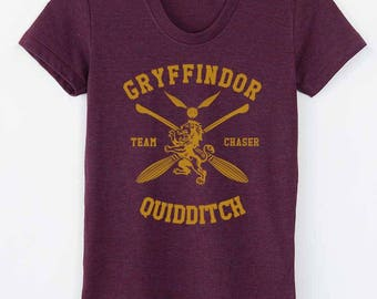 CHASER - Tri-blend tee Gryffindor Quidditch team Chaser YELLOW print on Tri-blend T-shirt Women tee American Apparel TR301 Cranberry