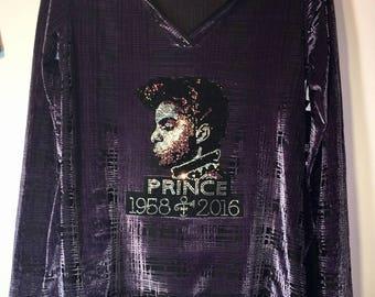 Prince-Unique Two-Tone Purple Chameleon Top featuring a Crystal Rhinestone Prince Design - Size Medium