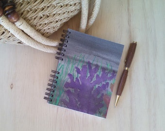 FREE SHIPPING; Small Spiral Journal; Wire Bound Blank Notebook for writing, sketching, doodling; Hand Painted; Under the Sea