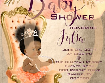 Baby Shower Invitation, African American Baby Girl Shower Invitation,  Personalized, Printable, Custom