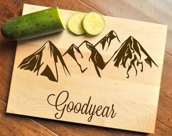 Mountain Cutting Board - Engraved Cutting Board, Custom Personalized Wedding Gift, Housewarming Gift, Personalized Cutting Board, Mountains