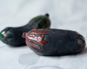 Eggplant, aubergine, ceramic sculpture, raku, red, green, copper, black, handmade, OOAK