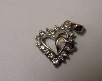 925 Sterling Silver CZ Double Heart Pendant