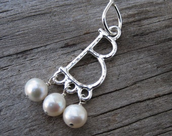 Anne Boleyn pendant with pearls modular jewelry fine silver // made to order