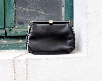 French 40's handbag Restored antique black leather clasp purse gold metal chain shoulder strap 1940s Paris Vintage cute little clutch NEAT