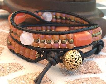 Wrap Bracelet, Wrap Bracelets, Beaded Wrap Bracelet, Rose Quartz, Carnelian, Czech Glass, Brass Beads, Art Deco Brass Clasp