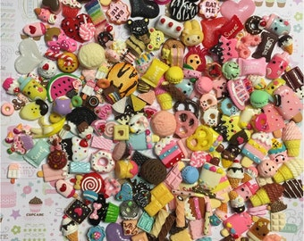 Assorted Candy Sweet Kawaii Dessert, Ice Cream, Cake, Cones, Cookies, Flatback Kawaii Cabochons, you pick size