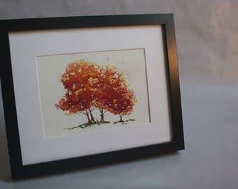 Autumn Foliage Original Watercolor