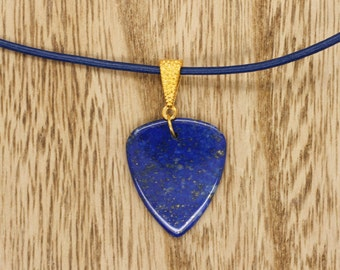 Lapis Lazuli Gemstone Guitar Pick Pendant On Blue Leather Thong Necklace Stone
