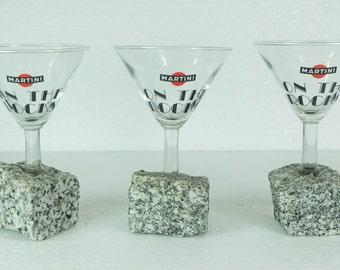 3 original MARTINI GLASSES martini on the rocks on real stone