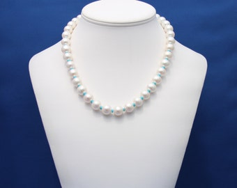 Vintage Pearl and Sleeping Beauty Turquoise Strand Necklace