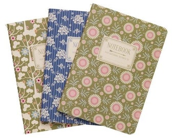 Tilda Pardon my garden note books, Set of 3, A6 note books plain pages Tilda floral note books