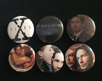 "Handmade XFILES Mulder Scully 1"" Button Lapel Pin"