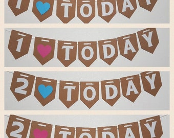Aged Birthday Bunting 1 TODAY Party GIRL BOY Pink Blue Garland Banner Cake Smash Children's birthday party decorations 18 21 30 40 50 60 70