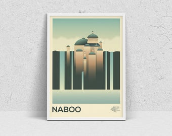STAR WARS - NABOO, planet print, travel poster, movie poster, minimalist, fan art