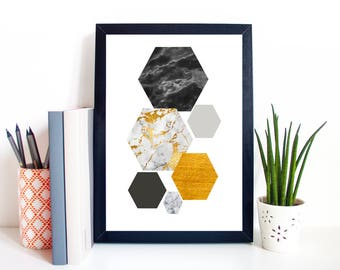 A4 Print Poster Hexagon Shapes Wall Art Marble Abstract Unframed