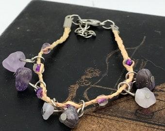 Braided Bracelet,Rope Bracelet with Tumbled Natural Gemstones,rocks - Vintage Bracelet