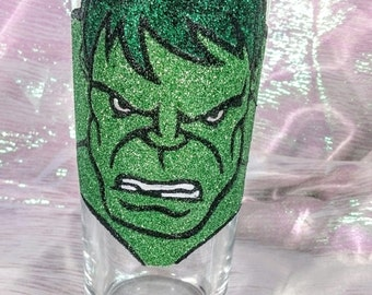 Hand Decorated Glitter Glass - The Hulk