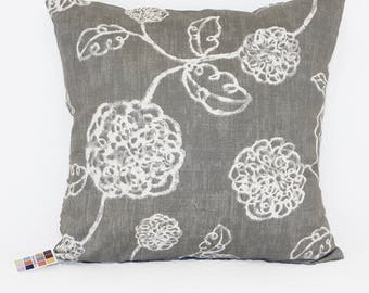 Gray Pillow Cover with White Flowers, Adele Pillow Cover in Slate Gray with Invisible Zipper