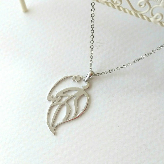 Leaf pendant in arabic letter rhodium plated brass unique for Arabic letter necklace