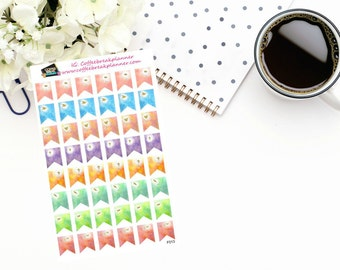 Planner Stickers|Watercolor Faith Flag Stickers|Watercolor Flag Stickers|Flag Stickers|For use in various planners and journals|F013