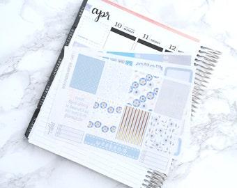 Final Sale // MATTE EC-V Something Blue Mini Kit Planner Stickers - For Erin Condren Vertical