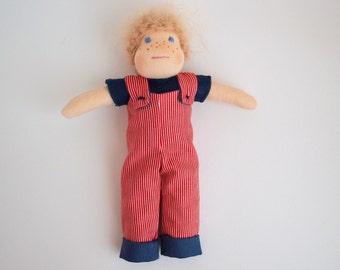Waldorf boy doll, blonde hair boy doll, doll for boy, doll with dungarees, short hair doll, dungarees, Birthday gift, small doll, rag doll